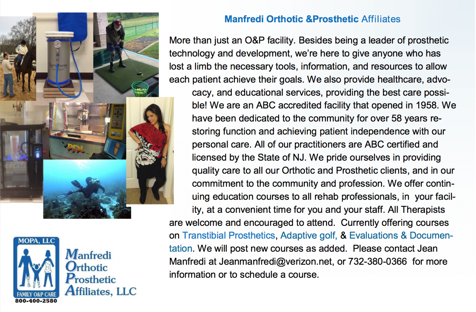 Manfredi O&P Offering a Variety of Courses